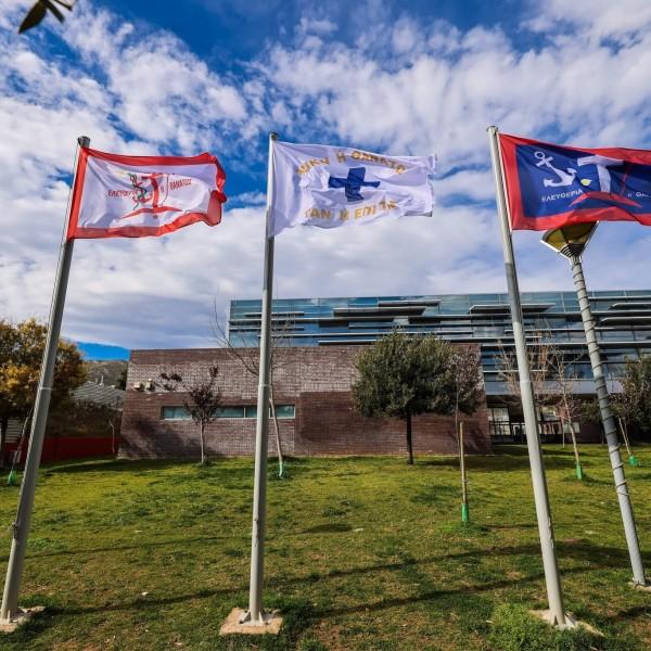 Kορυδαλλός: Οι σημαίες της Ελληνικής Επανάστασης στα κεντρικά κτήρια